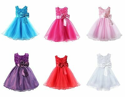 Girls Rose Bow Dress Flower Princess Sleeveless Formal Party Wedding Bridesmaid
