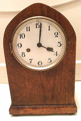 "German Lancet Shape Enamels Face Oak Case Striking Mantle Clock 15""H 9""W 6""D"