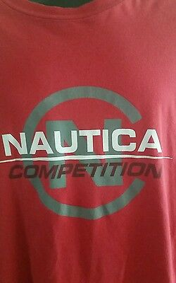 Vintage Nautica Competiton Long Sleeve Henley Shirt Size L Sailing 90s Red