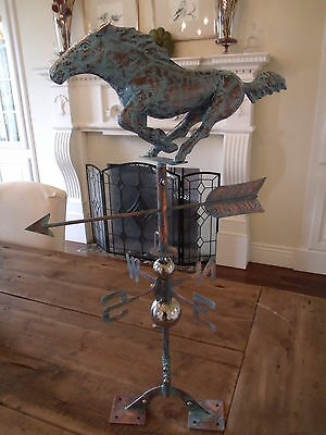 Handcrafted 3- Dimensional Racing Horse Weathervane Copper Patina Finish