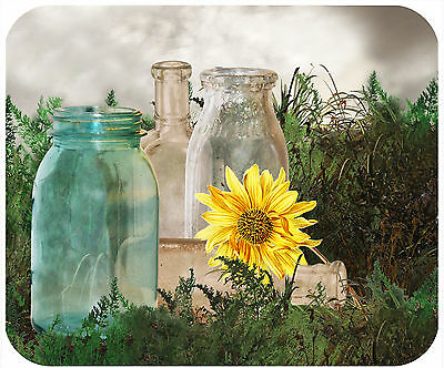 Mouse Pad Custom Personalized Thick Mousepad-Old Bottles & Sunflower-Any Text
