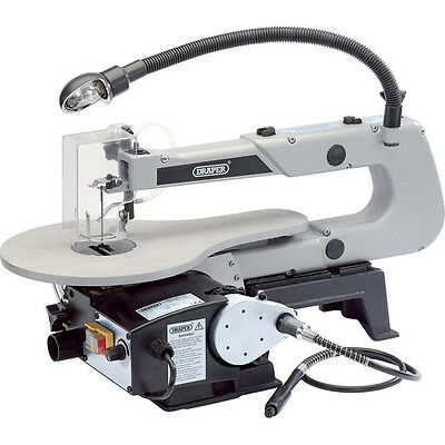 Draper Variable Speed Fretsaw 405mm with Flexible Shaft & Worklight 90w 240v