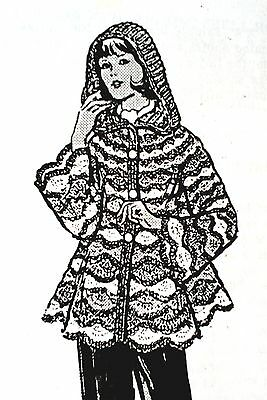 733 Vintage Design HOODED JACKET Pattern to Crochet (reproduction) SZ 8-18