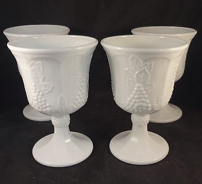 COLONY HARVEST Milk Glass GRAPE & LEAF WATER WINE GOBLETS Set of 4 INDIANA White