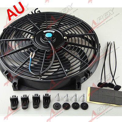 """Universal 14"""" Curved S-Blade Electric Radiator Cooling Fan with Mounting Kit AU"""