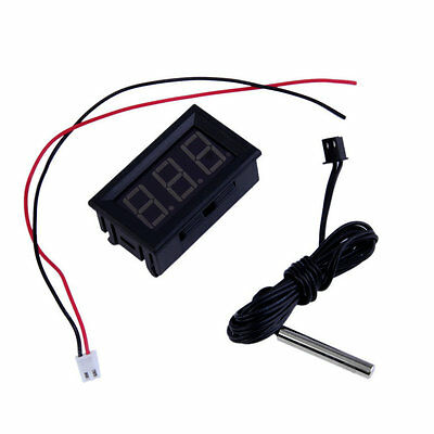 Red DC12V Digital Thermometer With Temp Probe Temperature LED Detector UL