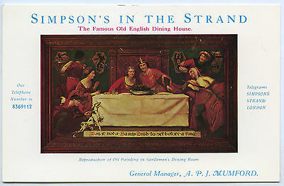 C1920'S ADVERTISING POSTCARD SIMPSON'S-IN-THE-STRAND EATING HOUSE LONDON UK a62.