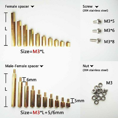 25/50/100pcs Brass M2 M3 Hex Column Standoff Support Spacer Screw Nut PCB Board