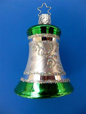 Inge Glas Green Silver Bell Glocke German Blown Glass Christmas Ornament