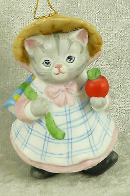 Vintage Kitty Cucumber School Girl Cat w/ Apple Xmas Ornament Shackman Schmid