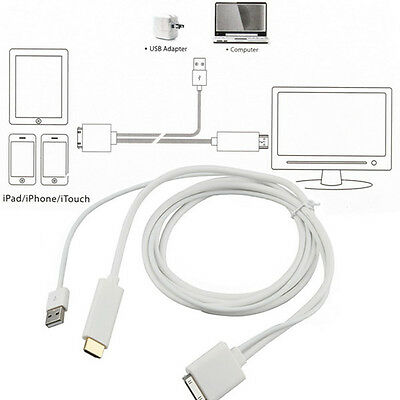 Dock to HDMI HDTV TV Adapter USB Cable for iPhone 4/4S iPad 2 3 iPod touch 4 UL