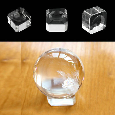 Clear Square Dimple Crystal Ball Display Bases Table Holder Stand Home Gift UL