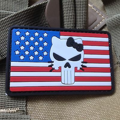 Hello kitty morale patch funny military tactical army flag usa.