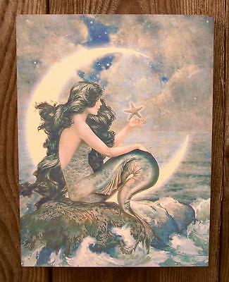 """8"""" Vtg Style Mermaid-Crescent Moon Picture Plaque-Nautical Beach/Home Wall Decor"""