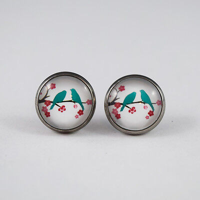 Glass Dome Cabochon Stainless Steel Stud Earrings - Blue Birds & Pink Flowers