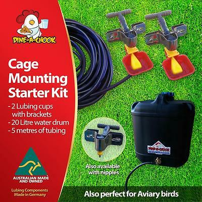Dine a Chook Cage Mounting Drinker Kit #2 - Two Cup, 20 Litre - Chicken Drinker
