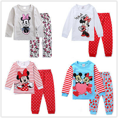 2pcs Baby Top+Pants Kids T-shirt Pajamas Girl Clothes Cotton Outfits Sets 1-7Y
