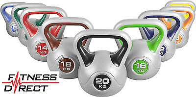 Fitness Direct Vinyl Kettlebells Weight for Strength Training Gym 2kg TO 20Kg