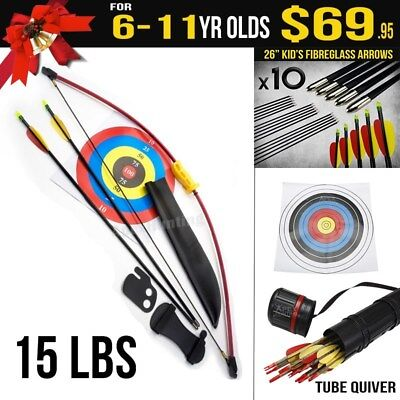 Kids Gift Pack for 6-11 Yr Old 15 Lbs Red Longbow - Kids Target Archery