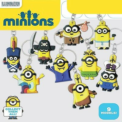 SET 9 Figure Portachiavi MINIONS dal FILM 2015 Keyrings UFFICIALI Coolthings NEW