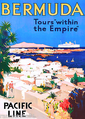 Bermuda Island Tours Empire Caribbean Vintage Travel Advertisement Art Poster