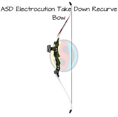 NEW - ASD Electrocution Archery Take Down Recurve Bow Set Blk & White Limbs 40Lb