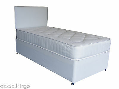 White Leather Divan Set With Ortho Quilted Mattress Storage Available
