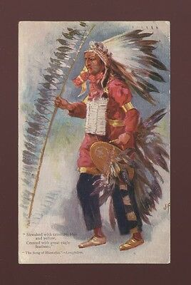 USA American INDIAN ethnic Hiawatha Tuck Oilette #1360 J Finnemore Used 1908 PPC