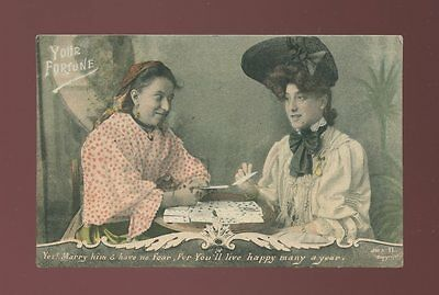 Social History FORTUNE TELLING Love Romance Marriage Playing Cards Used 1907 PPC