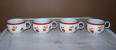 Block China Paprika CUP (s) PAPRIKA Red Band Rim Flowers Yellow