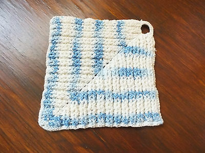Collectible Handmade Crocheted Pot Holder White Multi Blue CUTE