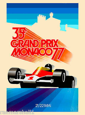 1977 35th Monaco Grand Prix Automobile Race Car Advertisement Vintage Poster