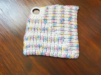 """Collectible Handmade Crocheted Pot Holder Multi Pastel & White 6"""" NICE"""