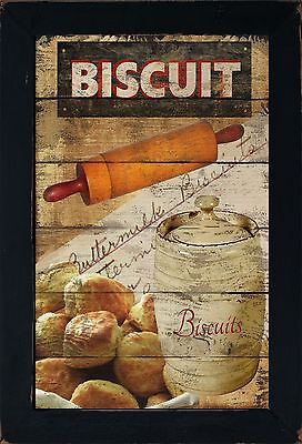 Primitive Country Kitchen Bread Biscuit Rolling Pin Flour Canister Wall Art Sig