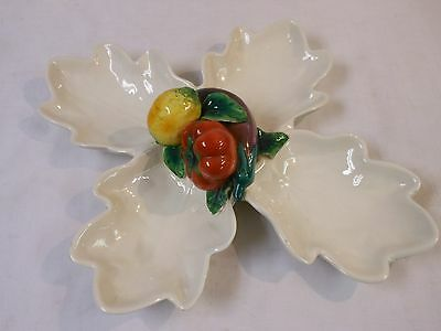 Large 4 Leaf Candy Dish Eggplant Tomato Lemon Made in Italy Ceramic Pottery