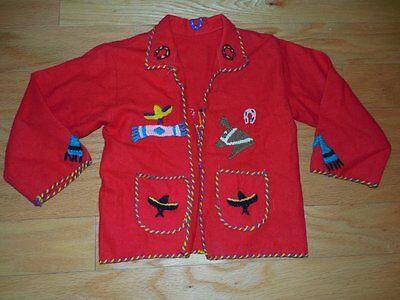 Vtg 40s 50s Mexican RED Wool Felt JACKET Rare CHILD Coat Applique Embroidered