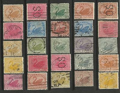 WESTERN AUSTRALIA Collection of 25 Different COLONIES STATES Stamps Used (Lot 3)
