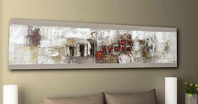 Modern neutral red metal abstract on linen canvas oil painting wall art painting
