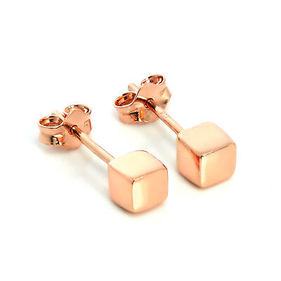 18ct Rose Gold Dipped 925 Sterling Silver 4mm Square Cube Stud Earrings