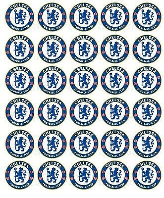 30 Chelsea Football Club Edible WaferPaper Cupcake Cup Cake Topper Image