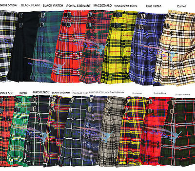 Scottish Men All Kilts 8 yard Tartan Kilts Traditional Highland Dress 13oz Kilt