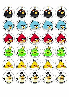 30 x Angry Birds - edible wafer paper cupcake cup cake toppers