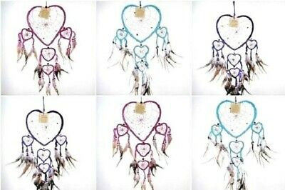 Heart shaped Native American Dream Catcher 30cm approx  Red Purple Turquoise