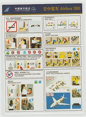 Safetycard CHINA SOUTHERN SKYTEAM Airbus 380, 20115