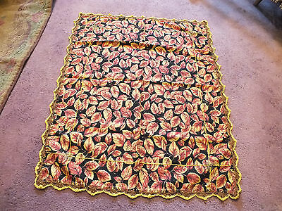 Collectible Beautiful Handmade Tablecloth Doily Fall leaves 14 x 20 Crochet Trim
