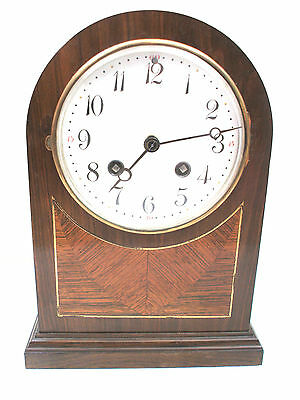 Berger & Wurker German Inlaid Oak Domed Marquetry Striking Mantel Clock GWO