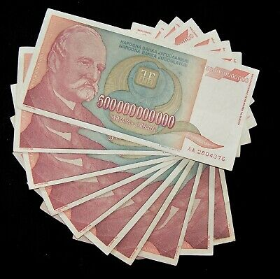 10 x Yugoslavia 500 Billion Dinara banknotes /1993 circulated currency