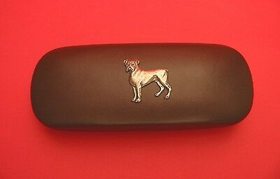 Boxer Dog Pewter Motif On Brown Solid PU Glasses Case Mother Father Gift