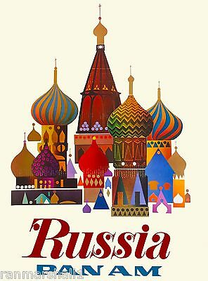 Moscow Russia St. Basil's Cathedral by Air Vintage Travel Advertisement Poster