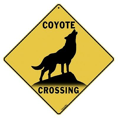Coyote Crossing Sign NEW 12X12 Metal Wildlife Silhouette